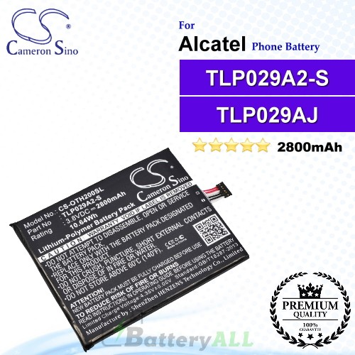 CS-OTH200SL For Alcatel Phone Battery Model TLP029AJ / TLP029A2-S