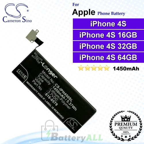 CS-IPH450SL For Apple Phone Battery Model 616-0479 / 616-0579 / 616-0580 / GB-S10-423282-0100 / LIS1474APPC For iPhone 4S