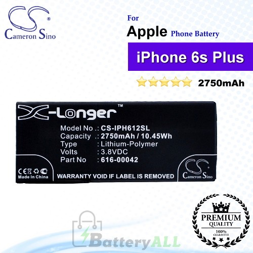 CS-IPH612SL For Apple Phone Battery Model 616-00042 For iPhone 6s Plus