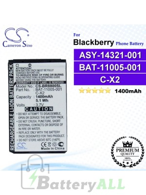 CS-BR8800SL For Blackberry Phone Battery Model ASY-14321-001 / BAT-11005-001 / C-X2
