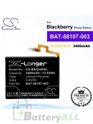 CS-BRQ300SL For Blackberry Phone Battery Model BAT-58107-003