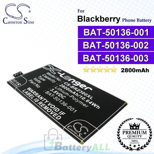 CS-BRZ300XL For Blackberry Phone Battery Model BAT-50136-001 / BAT-50136-002 / BAT-50136-003 / BAT-50136-101 / CUWV1 / STR100-2