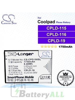 CS-CPD190SL For Coolpad Phone Battery Model CPLD-19 / CPLD-115 / CPLD-116