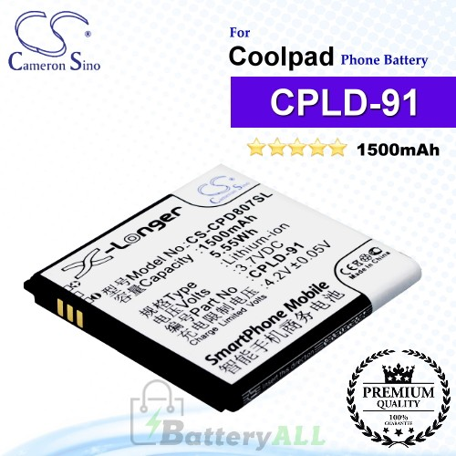 CS-CPD807SL For Coolpad Phone Battery Model CPLD-91