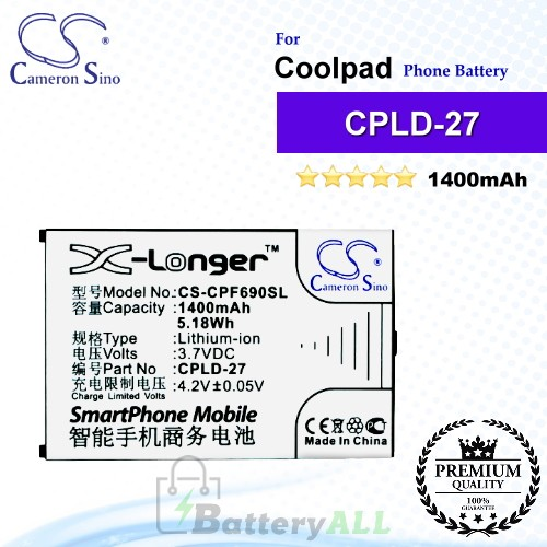CS-CPF690SL For Coolpad Phone Battery Model CPLD-27