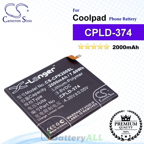 CS-CPK200SL For Coolpad Phone Battery Model CPLD-374