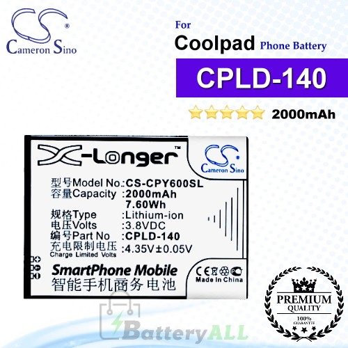 CS-CPY600SL For Coolpad Phone Battery Model CPLD-140