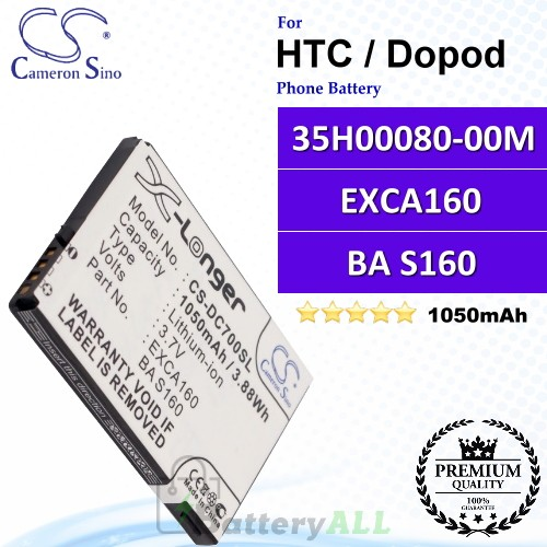 CS-DC700SL For HTC / Dopod Phone Battery Model 35H00080-00M / EXCA160