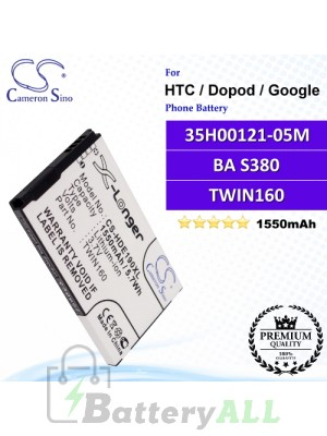 CS-HDE190XL For HTC / Dopod / Google Phone Battery Model 35H00121-05M / BA S380 / TWIN160