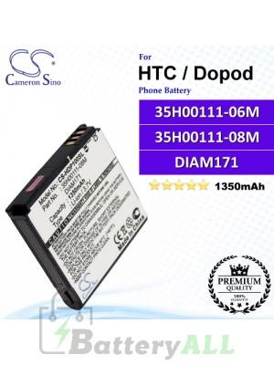 CS-HDP100SL For HTC / Dopod Phone Battery Model 35H00111-06M / 35H00111-08M / DIAM171