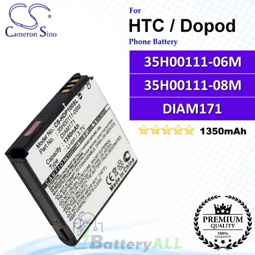 CS-HDP100SL For HTC / Dopod Phone Battery Model 35H00111-06M / 35H00111-08M / DIAM171
