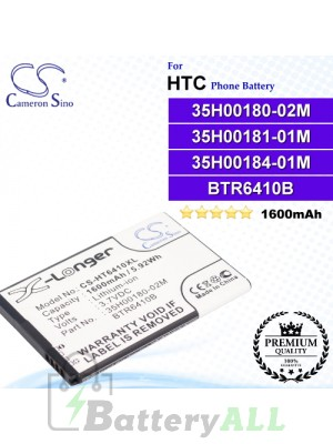 CS-HT6410XL For HTC Phone Battery Model 35H00180-02M / 35H00181-01M / 35H00184-01M / BTR6410B