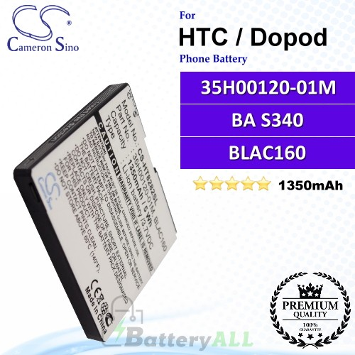 CS-HT8282SL For HTC / Dopod Phone Battery Model 35H00120-01M / BA S340 / BLAC160