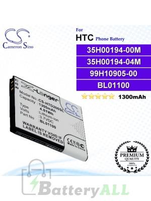 CS-HTD200SL For HTC Phone Battery Model 35H00194-00M / 35H00194-04M / 99H10905-00 / BA S840 / BA S850 / BL01100