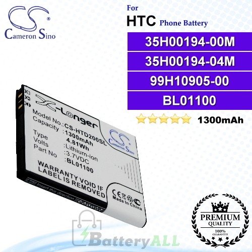 CS-HTD200SL For HTC Phone Battery Model 35H00194-00M / 35H00194-04M / 99H10905-00 / BA S840 / BA S850 / BL01100