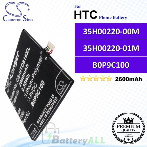 CS-HTD816XL For HTC Phone Battery Model 35H00220-00M / 35H00220-01M / B0P9C100