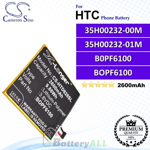 CS-HTD826SL For HTC Phone Battery Model 35H00232-00M / 35H00232-01M / B0PF6100 / BOPF6100