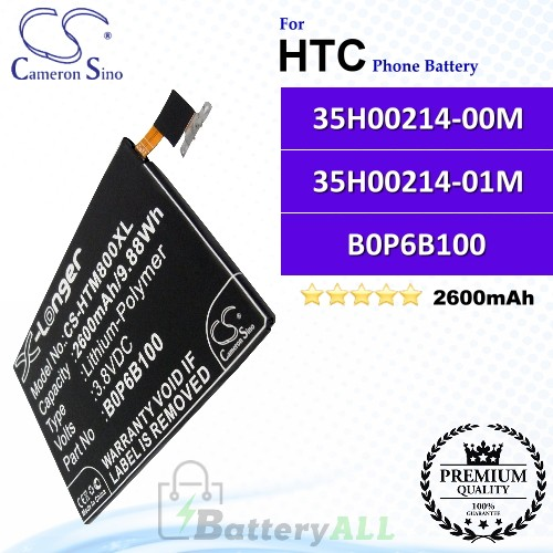 CS-HTM800XL For HTC Phone Battery Model 35H00214-00M / 35H00214-01M / B0P6B100 / BOP6B100
