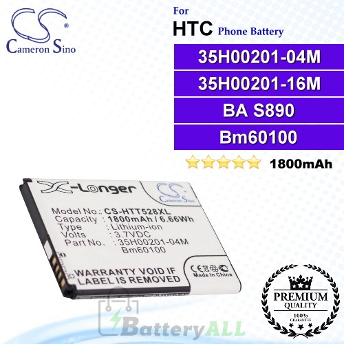 CS-HTT528XL For HTC Phone Battery Model 35H00201-04M / 35H00201-16M / BA S890 / BM60100