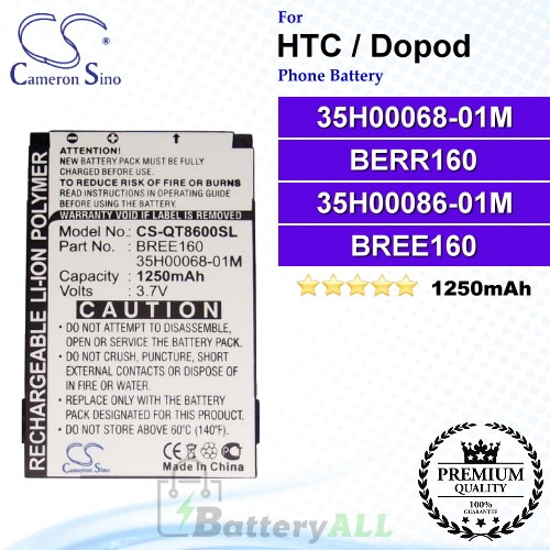 CS-QT8600SL For HTC / Dopod Phone Battery Model 35H00068-01M / BERR160