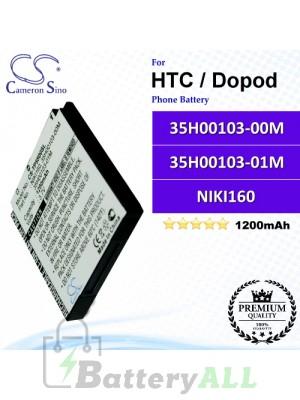 CS-TP5500SL For HTC / Dopod Phone Battery Model 35H00103-00M / 35H00103-01M / NIKI160