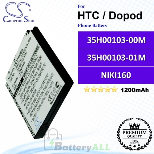 CS-TP5500SL For HTC / Dopod Phone Battery Model 35H00103-00M / 35H00103-01M / NIKI160