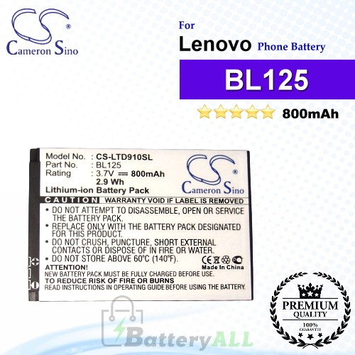 CS-LTD910SL For Lenovo Phone Battery Model BL125