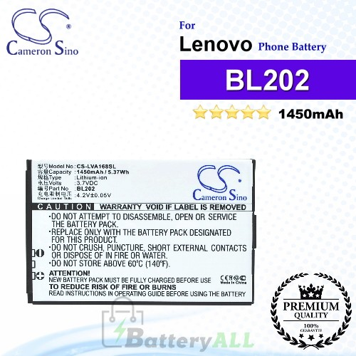 CS-LVA168SL For Lenovo Phone Battery Model BL202