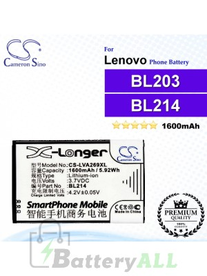 CS-LVA269XL For Lenovo Phone Battery Model BL203 / BL214