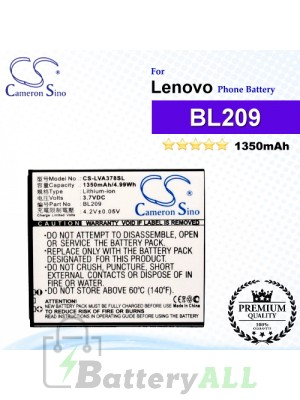CS-LVA378SL For Lenovo Phone Battery Model BL209