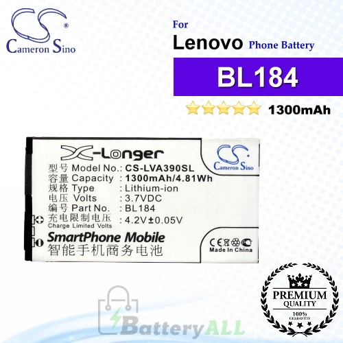 CS-LVA390SL For Lenovo Phone Battery Model BL184