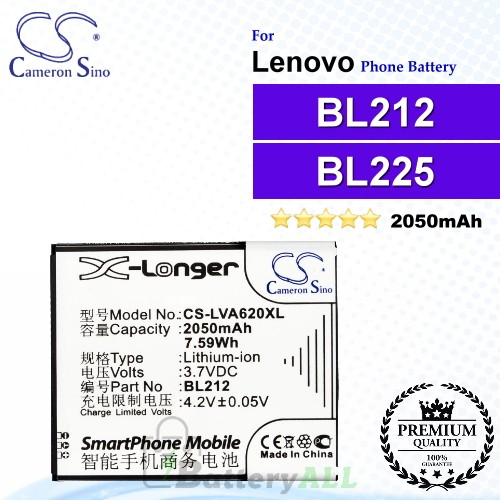 CS-LVA620XL For Lenovo Phone Battery Model BL212 / BL225