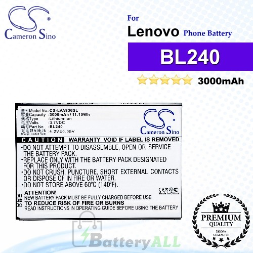CS-LVA936SL For Lenovo Phone Battery Model BL240