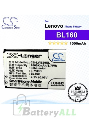CS-LVI520SL For Lenovo Phone Battery Model BL160
