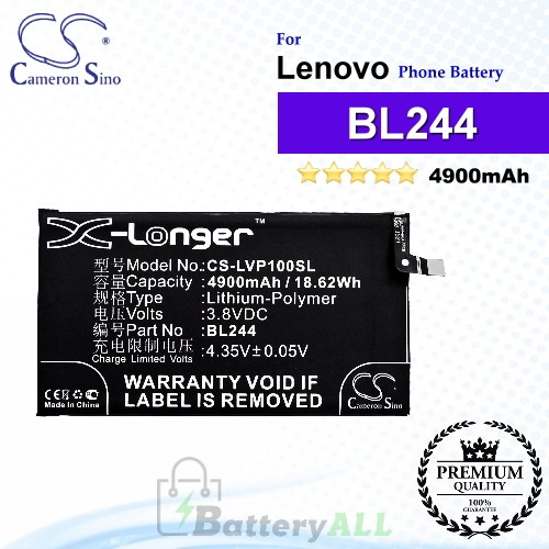 CS-LVP100SL For Lenovo Phone Battery Model BL244
