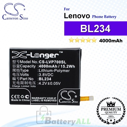 CS-LVP700SL For Lenovo Phone Battery Model BL234