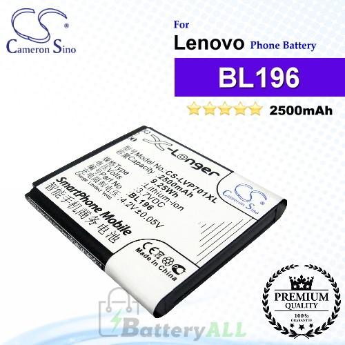 CS-LVP701XL For Lenovo Phone Battery Model BL196