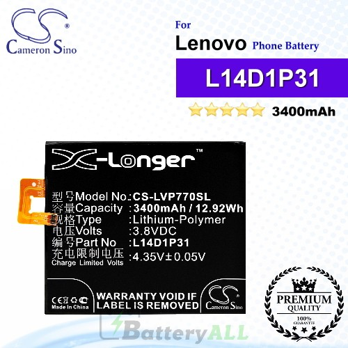 CS-LVP770SL For Lenovo Phone Battery Model L14D1P31