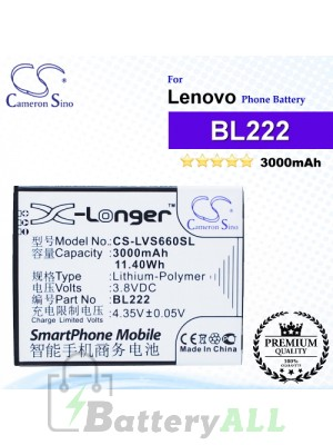 CS-LVS660SL For Lenovo Phone Battery Model BL222