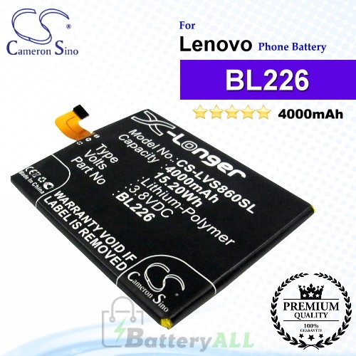 CS-LVS860SL For Lenovo Phone Battery Model BL226