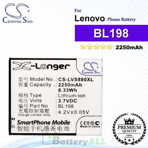 CS-LVS880XL For Lenovo Phone Battery Model BL198