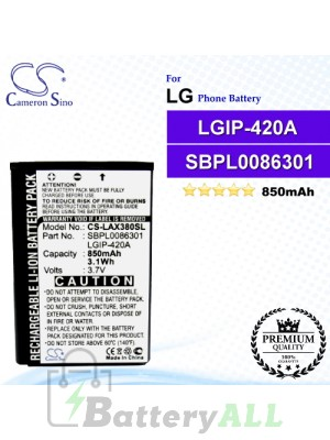 CS-LAX380SL For LG Phone Battery Model LGIP-420A / SBPL0086301