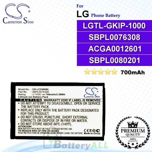 CS-LC3300SL For LG Phone Battery Model LGTL-GKIP-1000 / SBPL0076308 / ACGA0012601 / SBPL0080201