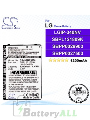 CS-LGM750SL For LG Phone Battery Model LGIP-340NV / SBPL121809K / SBPP0026903 / SBPP0027503