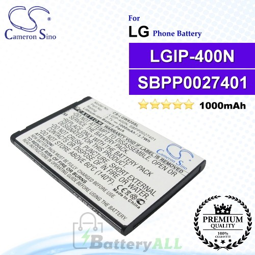 CS-LGW820SL For LG Phone Battery Model LGIP-400N / SBPP0027401