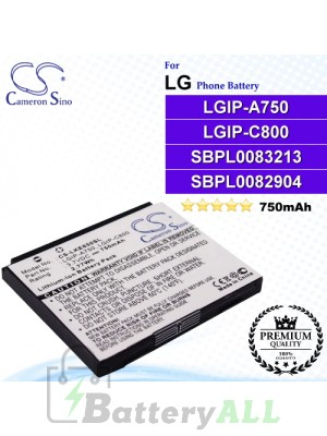 CS-LKE850SL For LG Phone Battery Model LGIP-A750 / LGIP-C800
