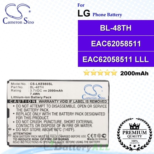 CS-LKE980SL For LG Phone Battery Model BL-48TH / EAC62058511 / EAC62058511 LLL