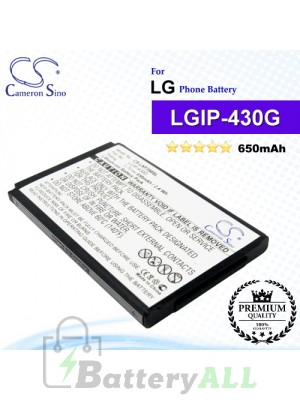 CS-LKF390SL For LG Phone Battery Model LGIP-430G