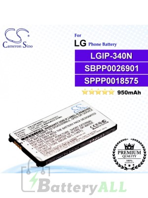 CS-LKF900SL For LG Phone Battery Model LGIP-340N / SBPP0026901 / SPPP0018575