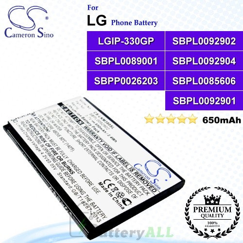 CS-LKM380SL For LG Phone Battery Model LGIP-330GP / SBPL0092902 / SBPL0089001 / SBPL0092904 / SBPP0026203 / SBPL0085606 / SBPL0092901
